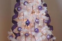 White Christmas Tree with purple trimmings