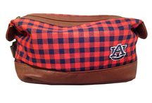 College Branded Dopp Kits / Men's toiletry bag with custom material, faux leather trim, and zippered closure and carry handle. Makes a great gift for a current college student or university alumni.