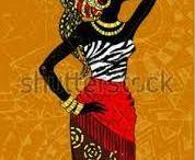 Negras Africanas En Madera Con Diseño De Frutas