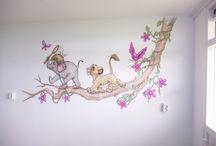 Boom en takken kinderkamer schilderingen / Diverse bomen en takken schilderingen voor in de baby / kinderkamer
