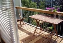 Houten rand op balkon + houten vlonder