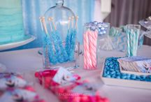 Frozen Birthday Party / In hues of powder blue and magenta, this Frozen themed Birthday Party was accented in elegant silver tones and candlelight. A cascading fairy light canopy above complimented the customised dessert bar, whilst the gift table was highlighted by an Elsa prop and floral elements framing custom signage, gift bags and hanging decorative backdrop. A perfect combination of sophisticated, fun theming to suit both young and young at heart.  www.enchantedempire.com.au/frozen-birthday-party/