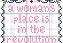 feminist cross stich