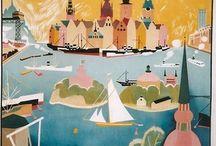 Travel vintage posters Scandinavia