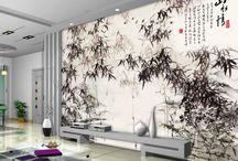 Papier peint chinois / Peinture à l'encre de Chine