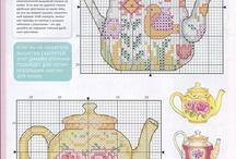 Cross stitch teapots and tea cups