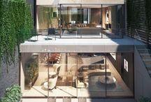 moderna hus bredvid varann