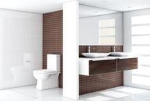 Cocoa and white contemporary bathroom