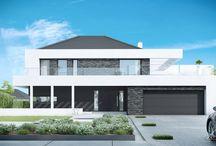 HomeKONCEPT 37 | Projekt domu / HomeKONCEPT 37 to nowoczesny, piętrowy dom jednorodzinny. Reprezentacyjna strefa dzienna składająca się z pięknie doświetlonej oknem narożnym jadalni oraz wygodnego salonu  łączy się z kuchnią tworząc wygodną, wielofunkcyjną przestrzeń. Dodatkowy pokój sprawdzi się doskonale jako sypialnia dla gości lub gabinet do pracy. Na piętrze zaprojektowaliśmy sypialnię małżeńską z własną łazienką, dwa pokoje dziecięce, dużą łazienkę, garderobę i pralnię.