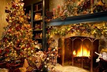 Christmas Decorating Ideas / Lots of pictures of how to decorate my fireplaces, front door and chandelier for Christmas.