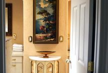 Old World Master Bath / Elegant old world master bath remodel with Faux finish walls and custom artwork