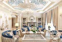 Дизайн интерьера в классическом стиле в Словении / Интерьер квартиры в Словении выполнен в классическом стиле. В оформлении комнат большое внимание уделено декоративным элементам, благодаря которым передаётся статус и роскошь. Бежевый и бархатно-синий цвет делают квартиру индивидуальной, не похожую на другие. Классические колонны, расписной пол, картины и зеркала являются неотъемлемой частью этого направления.