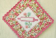 Vintage pot holders and t towels