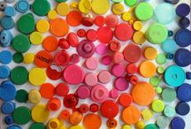 Bottle lid crafts with children