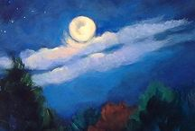 Nightscene Paintings by Contemporary Colorado Artist Laura Reilly / Under the Moon and Stars - Moonlit night skies, deep blue, full of starshine and magic.