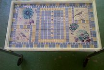 Tranfers designs and tiles I made with it / These transfers of my has been used to do tile for a worn out tea trolley!!! Transfers may be ordered from walibriart@gmail.com