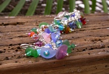 Coral Reef Splendor / Sea pebble like sea glass from the Caribbean adorned with Swarovski crystal beads.