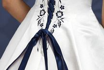 white navy wedding dress