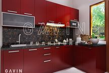 Maroon kitchen