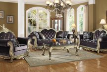 Traditional - Roma Living Room Set / MERIDIAN FURNITURE -  This traditional  Roma Living Room Set is a great example of  elegance. From the hand carved designs to the button-tufted upholstery. This collection Features reversible seat cushions and Includes accenting toss pillows.