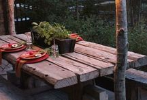 Rustic table patio decor