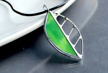 Pendants / Iridescent stained glass pendants
