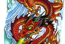 dragon tattoo colorful