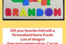 The Puzzle Man's Stuff / My husband and I have been making wooden jigsaw puzzles for over 35 years!  They are educational and fun.  Handcrafted at our California home of renewable resources. Personalized name puzzles, alphabet puzzles, map puzzles.  Free replacement pieces.