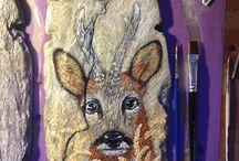 Mina målade skifferplattor / Akrylmålningar på sten