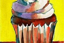 myra cupcake paintings