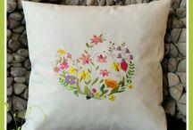 Wiosna / Zajączki bawełniane, poduszki z haftem