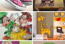 Crazy Art / T-shirts, shoes, hats, tables, boxes, bags and many other accessories hand-painted