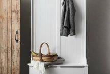 Entryway Storage Cabinet Shoe Bench Seat & Coat Rack White Vintage Furniture Set