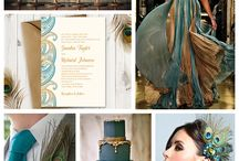 Peacock and teal wedding design with little art deco