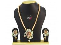 Rich and exclusive pearl jewellery set in golden colour pearls