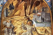 Quattrocento stigmatization light line to St Francis with tapestry to Cloisonnism on symbolism