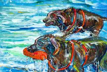 Dog Art Painting by Jen Callahan