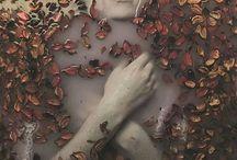 Retrato y flores