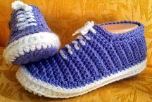 crochet blue slippets