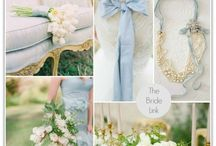 Dusty Blues, Greys, Gold with touches of dusky pink and lavender / Earthy wedding style with organic trailing foliage, delicate florals with a bohemian feel.