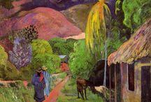 """Synthetism / Ответвление Символизма, возникшее во Франции в конце 1880х, манифестирующее, что художник должен """"синтезировать"""" свои наблюдения воедино с эмоциями и эстетическими суждениями. Картины Синтетизма оказывались заметно уплощенными, часто включали в себя большие """"заплатки"""" чистого цвета. Maurice Denis, Edouard Vuillard, Emile Bernard, Pierre Bonnard, Paul Gauguin"""