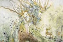Dryads - Green Man / Paintings about the Beings of Nature of the Earth element (Spirits of Nature, Elementals, Sidhe, Petit Peuple, émanants): Dryads, Hamadryads, Green Man.