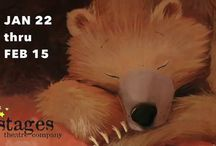 Bear Snores On / Bear Snores On JANUARY 22, 2016 – FEBRUARY 15, 2016 • All Ages  Adapted from the book by Karma Wilson. Adapted for the stage by Jennifer Kirkeby. Music and Lyrics by Blake Thomas. Warm-up this winter as Bear and all his friends cozy up in our imaginative new WORLD PREMIERE musical!   Tickets: http://www.stagestheatre.org/upcoming-shows/bear-snores-on/