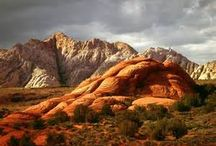 Snow Canyon / Snow Canyon State Park offers a stunning backdrop of towering sandstone cliffs.  The red and white rock mixes with black lava rock caps and tumbles down hillsides.  It is an eerie, isolated landscape -- the perfect spot for Hope and Michael to find Enoch.