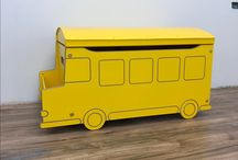 School Bus Toy Box: Ready for School? / This new toy box design conjures up crisp fall leaves and the exhilarating anticipation of grown-up school days. Our School Bus Toy Box comes with a lid or without, but both options incorporate a handy book shelf within easy reach. The lidded option keeps toddler toys hidden, while the lidless version makes your child's treasures instantly accessible. We are seeing more interest in lidless toy boxes, a reflection of our more casual lifestyle.