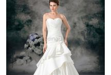 Column Wedding Dresses / Satin Sweetheart Sweep Train Sheath Hand-made Flower Wedding Dress / by eweddingdress