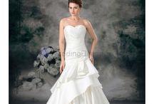 Column Wedding Dresses / Satin Sweetheart Sweep Train Sheath Hand-made Flower Wedding Dress / by eweddingdress
