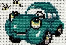 emproidery gars/ajoneuvot / Ristipistoin tehtyjä ajoneuvoja autoja junia lentokoneita ja traktoreita / by Tuula Kröger
