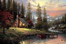 Thomas Kinkade / I love Thomas Kindade!  I have two large oils of his.  Several plates, a couple smaller pictures as well as couple of jewelry boxes of his.  Been buying his calendars for years. / by Arlene Finley