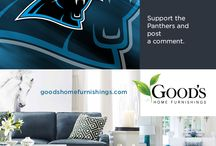 Show Your Team Colors. Add a pop of color to any room! Go Carolina Panthers! / Create a beautiful room, while also supporting your home team. Good's Home Furnishings in Charlotte, NC can show you how to bring it all together. Good's Home Furnishings shows our local  Charlotte NC fans how to bring the Carolina Panther blue to life. Visit us today  http://www.goodshomefurnishings.com / by Good's Home Furnishings